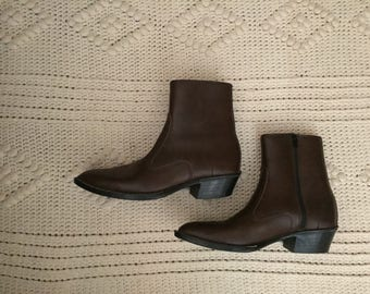 Vintage John Blair Menswear Chocolate Brown Vegan Ankle Boots Men's Size 9W