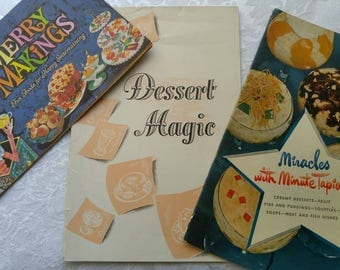 Vintage Cookbook ~ Cooking Pamphlet ~ set of 3 ~ Vintage Recipes ~ Jell-o