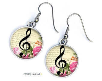 Earrings studs, music, note ref.271, surgical steel