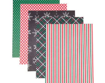 Patterned 8.5x11 Cardstock Paper Pack, Traditional Christmas Prints, 25 Sheets