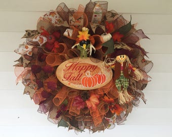 XL Fall,Autumn, Harvest, Holiday, or Thanksgiving Curly Deco Mesh Wreath/Front door decor