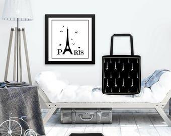 Black Paris Eiffel Tower tote bag,Paris shopper bag,Paris Tote bag,cotton tote bag,Fashion Bag,reusable market bag,Paris Gift,Black Tote Bag