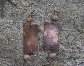Earrings, copper patina earrings, sun stone, geometric earrings, ethnic earrings, gifts for wife, juneteenth gifts, birthday gifts, silver