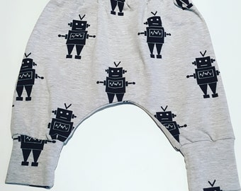 SALE Baby harem pants, baby trousers, baby leggings, toddler trousers, cotton trousers, baby joggers, cotton pants, robot pants, baby gift