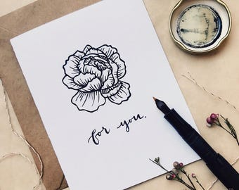 Peony greeting card, blockprinted card, simple card, mothers day card, minimal card, for you card, flower card, floral card, a2 card