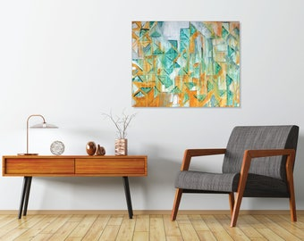 3, original abstract painting, teal art, modern mid century art, teal and yellow art, triangle painting, geometric art, contemporary art,