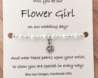 Flower Girl Proposal, Proposal Bracelet, Will You Be Our, Be Our Flower Girl, Flower Girl Poem, Wedding Favours, Destination Wedding, Pearl