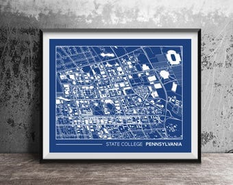 """State College, Pennsylvania street map, Penn State University campus map, gift for college graduation, college apartment wall art, 8x10"""""""