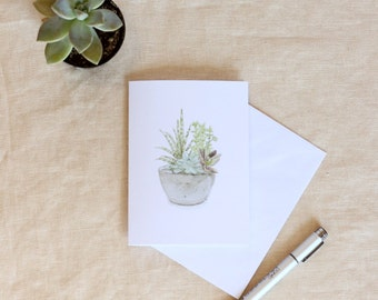 Single Watercolor Succulent Note Card, Greeting Card, Hand Painted Card, Mother's Day Card, Cactus Note Card, Blank Note Cards, Stationary