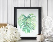 Monstera Leaf No. 3 - A fine art print of my watercolor painting // Tropical Leaf Print