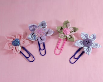 Set of 4 Fabric Flower Daily Planner Clips, Bookmark Paper Clips, Journal Clips, Paper Clip, Flower Bookmark