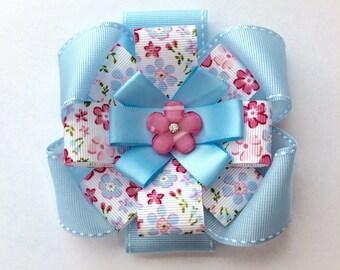Floral Hair Bow/ Flower Hair Bow/ Pink and Blue Hair Bow/ Hair Clip
