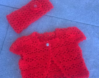 Crochet baby vest baby crochet set knit girl sweater red baby headband knit baby jacket crochet baby sweater crochet baby set girl outfits
