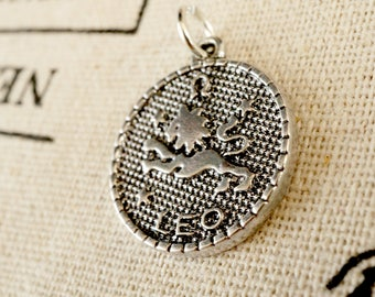 Zodiac Leo charm silver vintage style pendant jewellery supplies C213