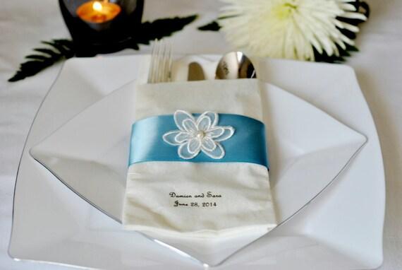Lace Flower Accented Satin Ribbon Linen-Like Wedding Napkin