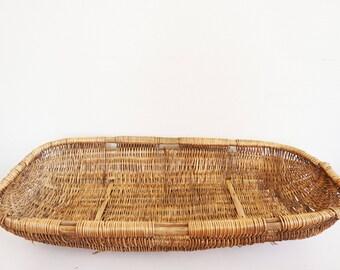 Large basket rattan wicker vintage braid
