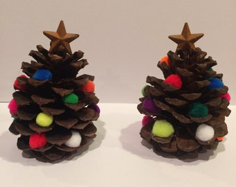 Pinecone Christmas Tree decoration, multi colored pom poms, star on top