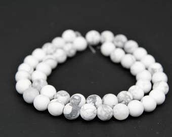 Matte White Howlite Gemstone Round Loose beads 6/8/10mm