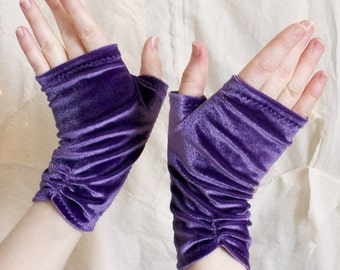 Grape Velvet Fingerless Gloves - Lush Stretch Hand Warmers - Purple One-of-a-Kind - Handmade in Kansas, USA