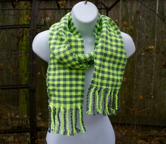 Foxfire - Neon Yellow and Gray Handwoven Scarf - One of a kind Woven - Handmade in USA