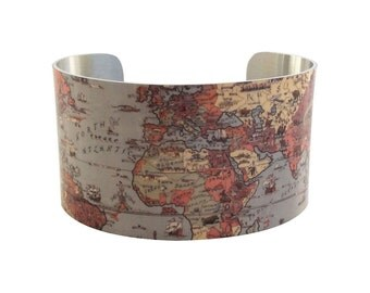 Vintage World Map Bracelet - Cuff Bracelet - Cuff Jewelry Map - Vintage Map - Map Jewelry - Large Cuff Bracelet
