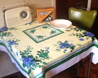 1950s Floral Table Cloth Lemon, Green & Blue 120cm Square