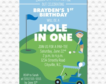 Hole in One Golf Birthday Party Invitation DIGITAL FILE