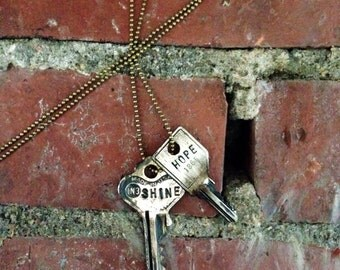 Key of Purpose Duo in Distressed Silver / Double Key Necklace