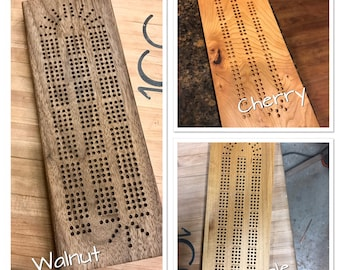 Cribbage Board, Handmade from Walnut, Maple, or Cherry, Continuous Track with Metal Playing Pegs/Storage. Made on Demand 3 or 4 track.