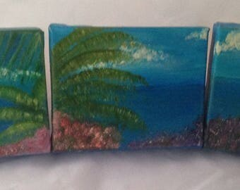 An original painting on canvas in oil over three canvasses.