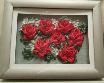 Red Roses // Satin Ribbon Embroidery // Framed // Glass cover // 23cm x 18cm // Free Delivery