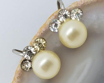 Rhinestone and Faux Pearl Screw Back Vintage Earrings 1940s  Three Rhinestones with Rounded Pearl