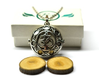 Yoga Mantra Locket Essential Oil Diffuser Necklace // Aromatherapy Necklace // - With Choice of Essential Oil