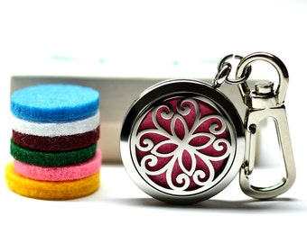 Celitc Stainless Steel Essential Oil Diffuser Keychain - With Choice of Essential Oil