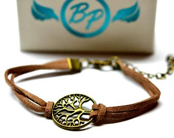 Tree of Life Leather Essential Oil Bracelet - With Choice of Essential Oil