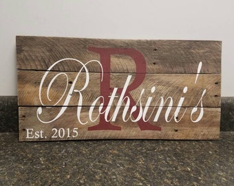 Custom Name Wood Sign, Wedding Gift Sign, Pallet Last Name Sign, Personalized Wood Sign, Rustic Sign, Established Date Family Sign,