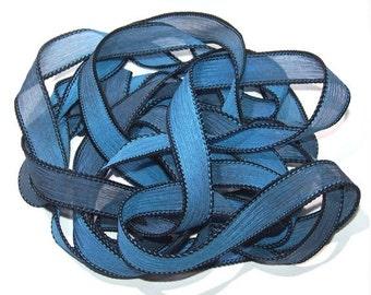 """1PC. BLUE MOON 42"""" hand dyed wrist wrap bracelet silk ribbon//Yoga wrist wrap bracelet ribbons//Hand dyed Boho Silk wrist wrap ribbon"""