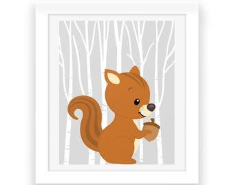 Baby Nursery Woodland Wall Art - Digital Print - Woodland Nursery Download - Nursery Wall Art - Baby Room Wall Art - Woodland Animals - Baby