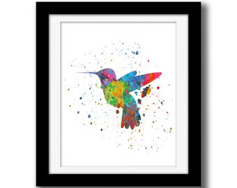 SALE - Rainbow Watercolor Printable Art - Hummingbird Wall Art Download - Hummingbird Wall Decor - Humming Bird Watercolor Paint Splatter