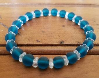 Stretch sea glass bracelet