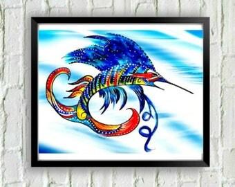 Swordfish Print, Coastal Art, Fish Wall Art, Swordfish Painting, Coastal Art Print, Kids Room Art, Art for Beach House, Fish Decor