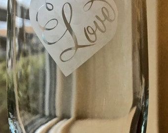 Heart Etched  Champagne flutes and Wine Glasses