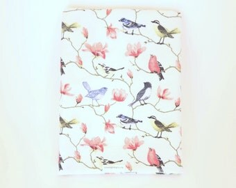 Cherry Blossom and Birds Swaddle blanket / Baby Shower Gift / Baby Girl Gift / Newborn Swaddle Blanket / Cherry Blossom Receiving Blanket