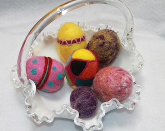Handcrafted Needle Felted Wool Easter Eggs-More