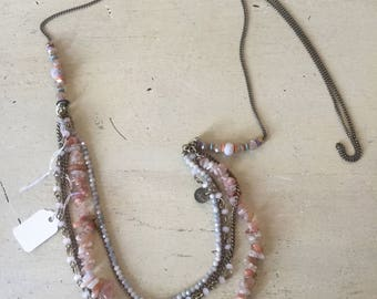 Natural stones and glass beads long necklace