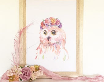 Ophelia Owl in her Flower Crown, Art Print - Floral Collection
