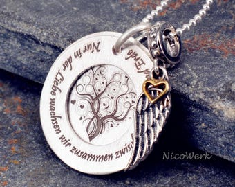 Family chain tree of life love necklace-engraved pendant necklace ESK131