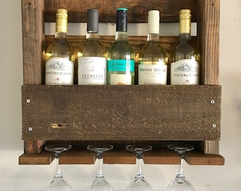 Wall Mounted Wine Rack Holder - Six wine bottle and four wine glass holder- Great Housewarming or Wedding Gift!