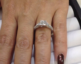 Princess cut diamonds,10k white gold handcrafted engagement ,wedding ring .75ctw,size7