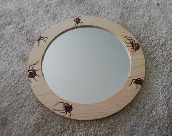 Medieval wood holzbranding Gothic branding pyrography wood mirror spiders